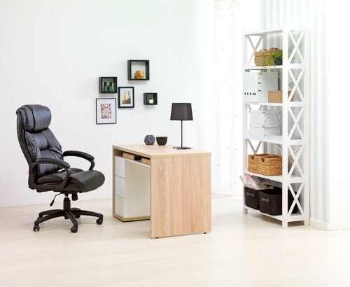 Kontorsstol TRIGE läderlook svart