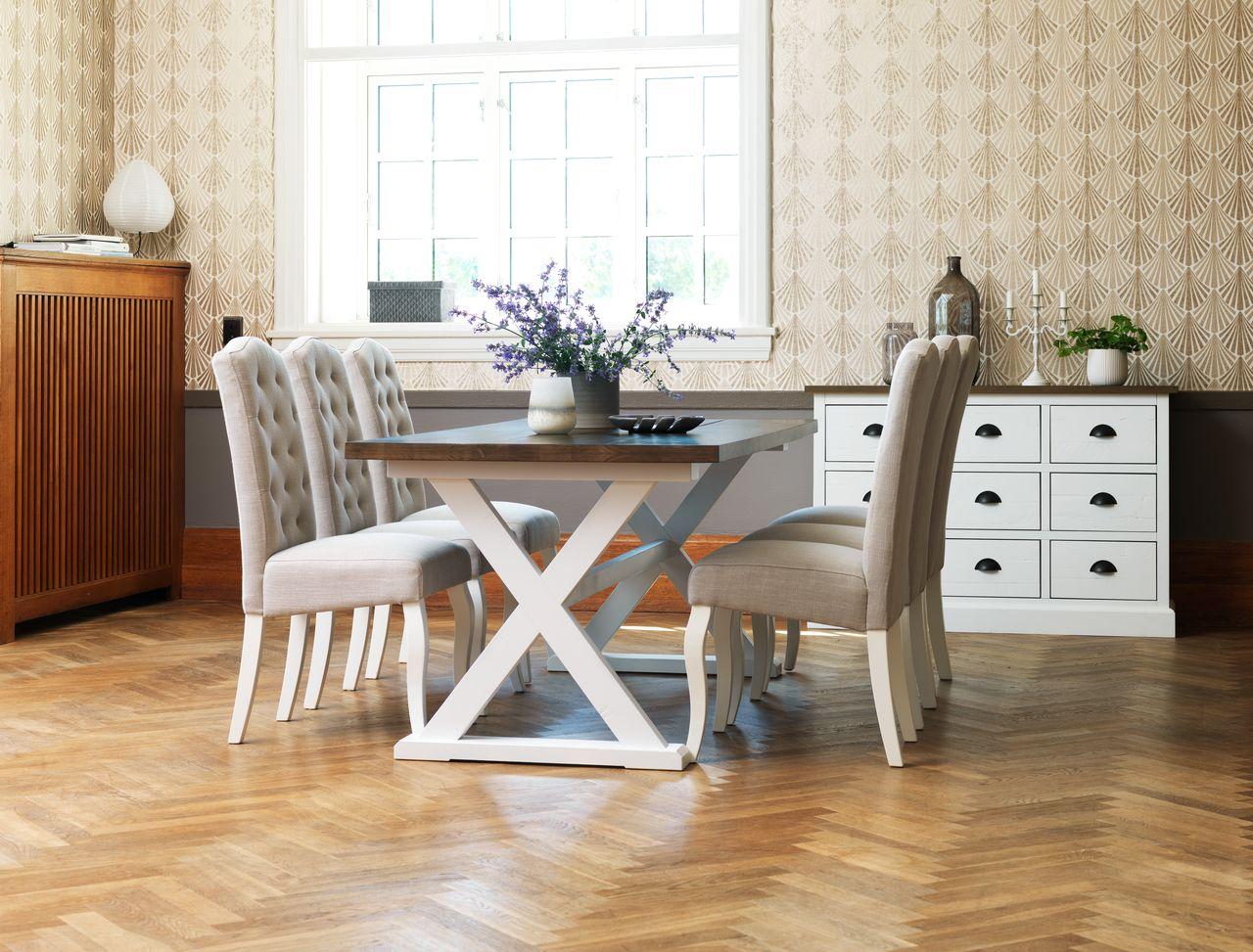 Witte Eetkamer Stoel : Landelijke eetkamerstoel vasco in vele kleuren bankstyle