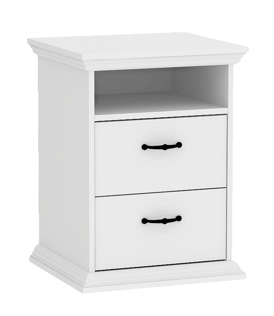Bedside table viborg 2 drawers white jysk - Table de nuit etagere ...