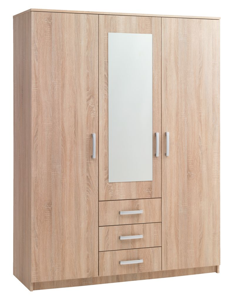 wardrobe vinderup 3 doors 3 draw oak
