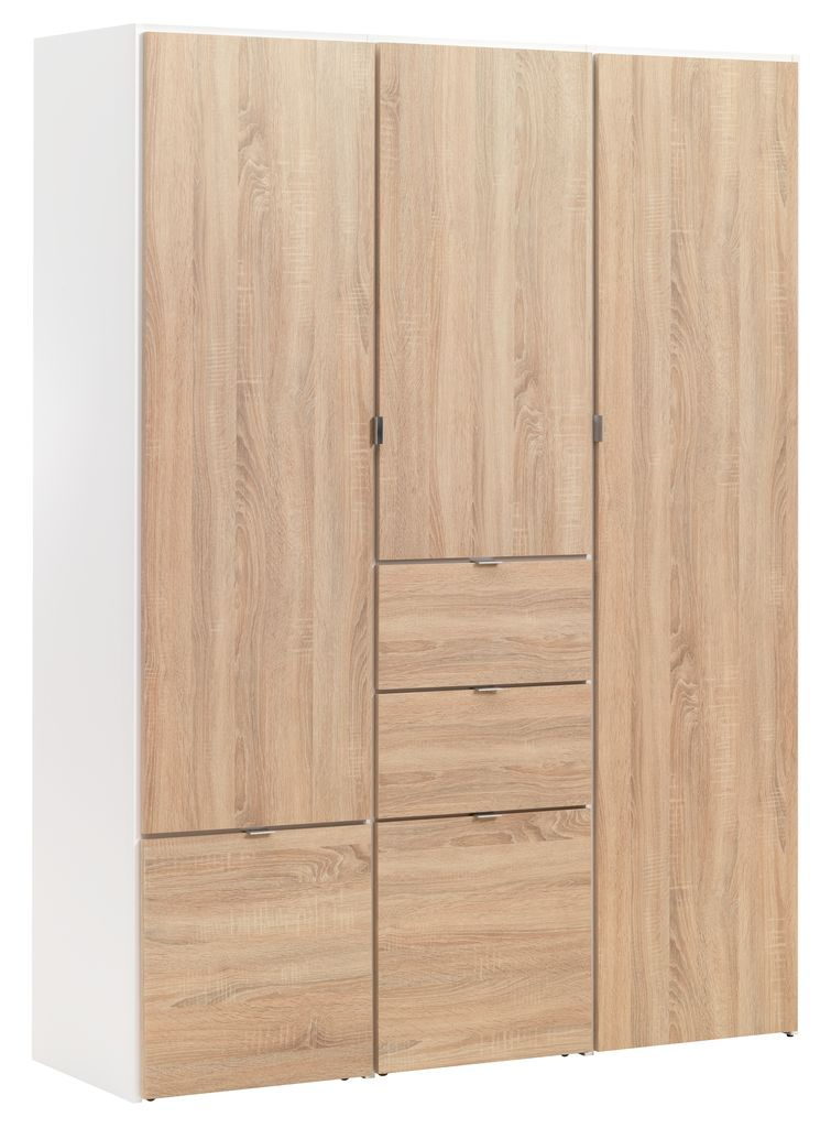 Wardrobe Nautrup 3 Doors White Oak Jysk