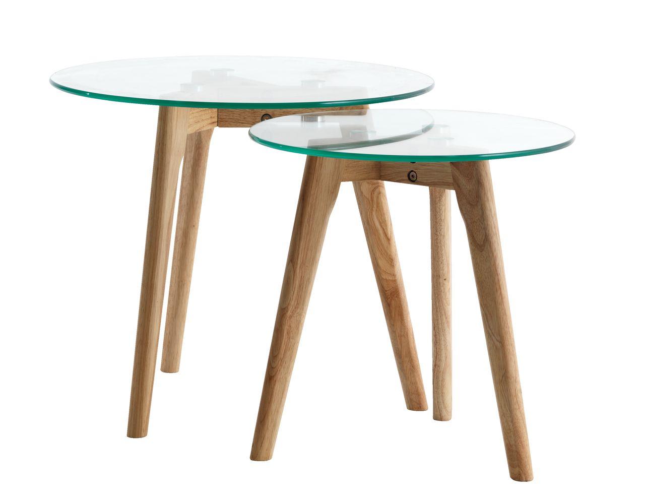 Kitchen Island Jysk set of tables ordrup glass/oak | jysk