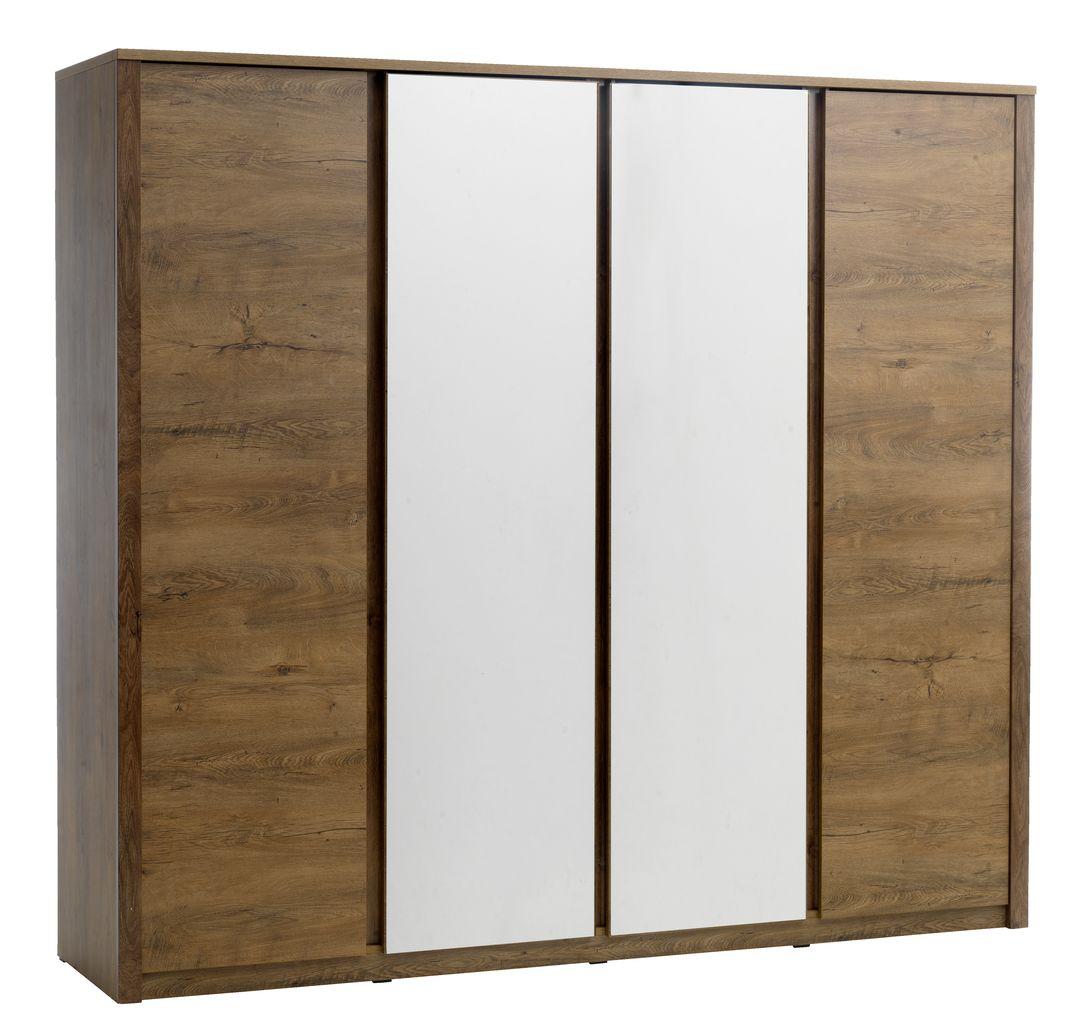 Cool Bedframes Wardrobe Vedde 4 Doors W Mirror Wild Oak Jysk