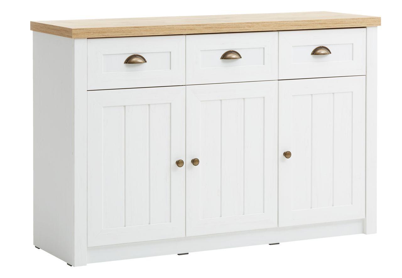 Sideboard Markskel 3 Door 3 Drw Wht Oak Jysk