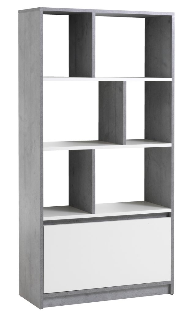 Bookcase Billund White Concrete Jysk