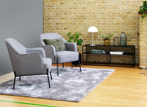 Fotel POMOSE világosszürke/fekete