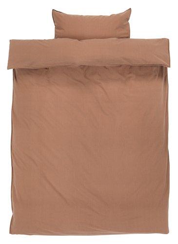 Sengesæt SANNE vasket bomuld EXL brun