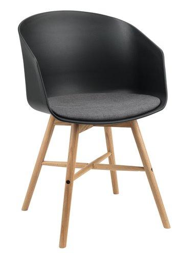Stol FAVRBJERG svart/eik