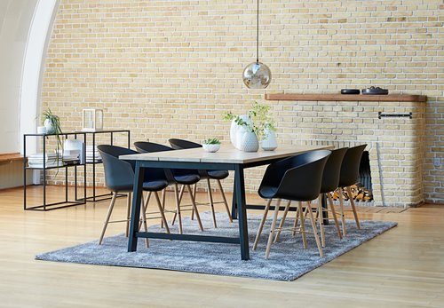 Dining table GADESKOV 100x225 oak/black