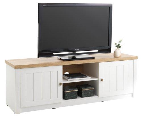 TV stolek MARKSKEL bílá/dub