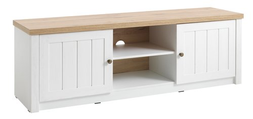 TV bench MARKSKEL 2 door white/oak