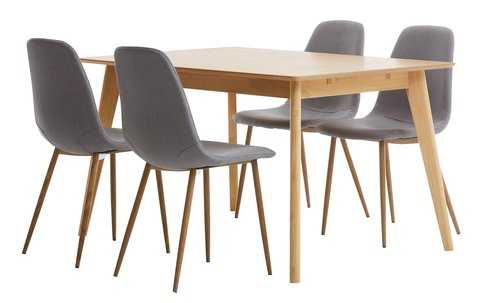 KALBY L130/220 oak + 4 JONSTRUP grey