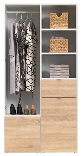 Wardrobe NAUTRUP 100x200 white/oak