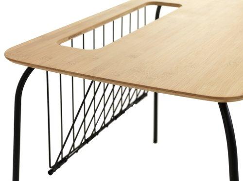 Hjørnebord KONGERSLEV 45x60 natur/svart