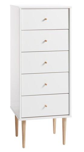 Comodă 5 sertare IDOMLUND îngustă alb/st