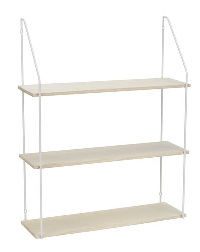 Wall shelf HEJLSMINDE high white/natural