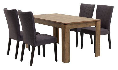 VEDDE L160 oak + 4 UK LAMBJERG grey