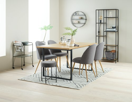 Dining table AABENRAA 90x160 oak/black