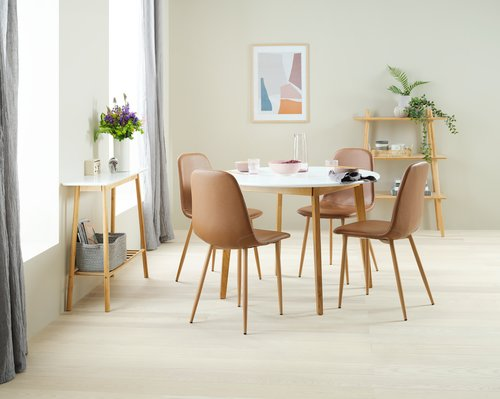 Dining chair JONSTRUP cognac/oak
