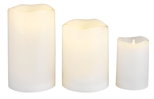 Pillar candle SOREN D7xH12cm white w/LED