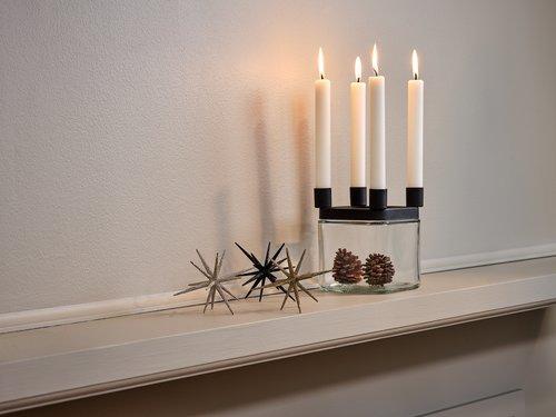 Kynttilänjalka MIMER lasi kävyillä