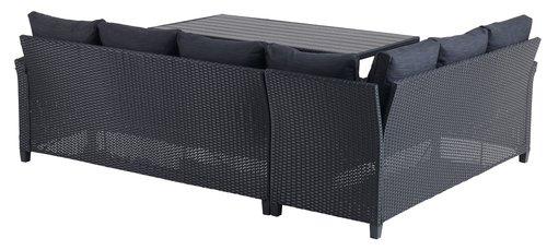 Loungeset ULLEHUSE 6-sits svart