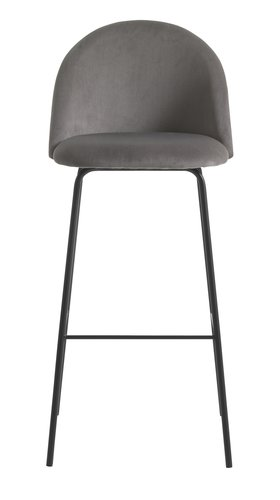Bar stool GRINDSTED velvet grey/black