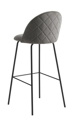 Bar stool GRINDSTED velvet grey/black