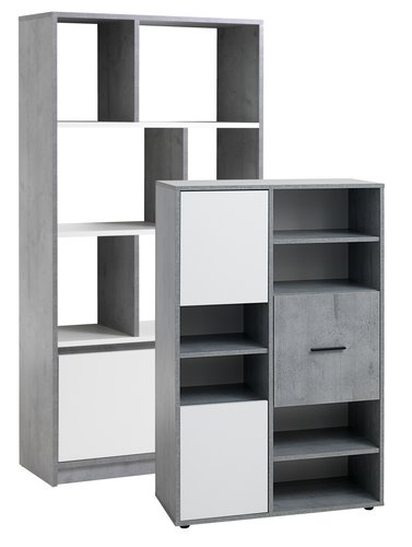 Bookcase BILLUND white/concrete