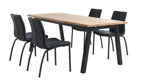 Miza SKOVLUNDE D200 + 4 stoli ASAA