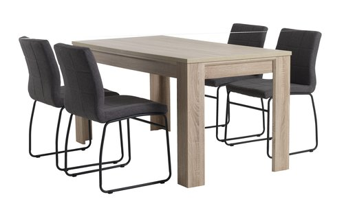 HALLUND L160 oak + 4 UK HAMMEL grey