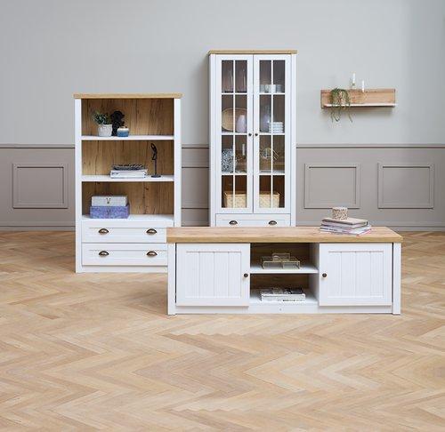 TV-asztal MARKSKEL fehér/tölgy