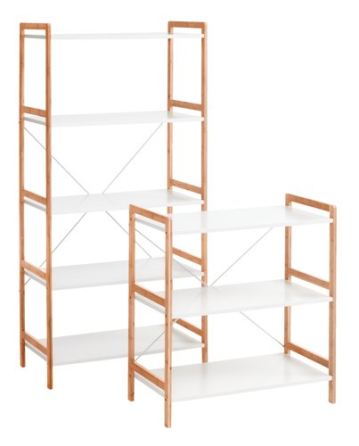 Shelving unit BROBY 5 shlv. wide wht/bam