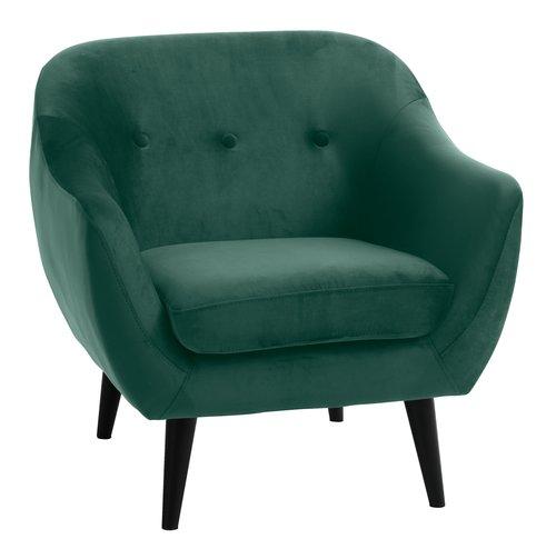 Fauteuil EGEDAL fluweel donker groen