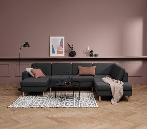 Sofa SVALBARD hjørne højre mørkegrå
