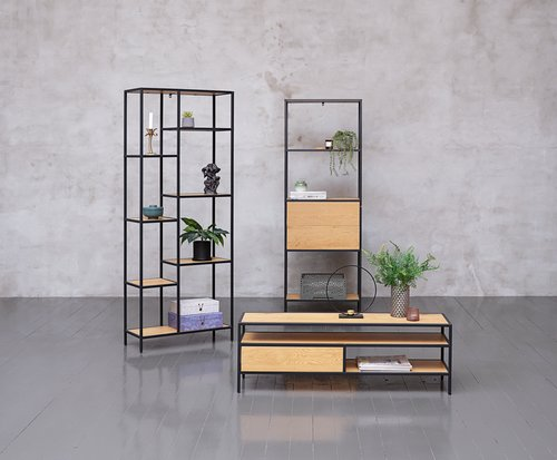 Shelving unit TRAPPEDAL 2 draw oak/black