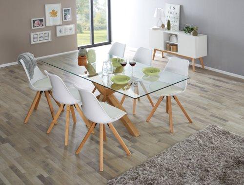 Cadeira jantar BLOKHUS branco/natural