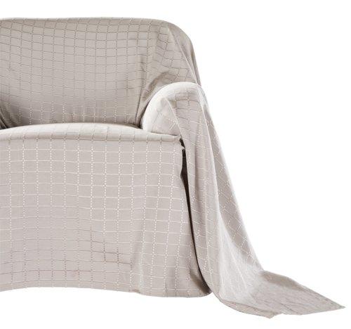 Sofaüberwurf KARO 270x250 taupe
