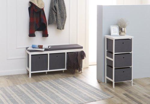 Cómoda ODBY 3 cajas blanco/gris