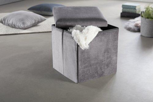 Pouf KALUM 38x38 velours gris