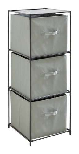 Estante ENEVOLD c/3 caixas preto/cinz