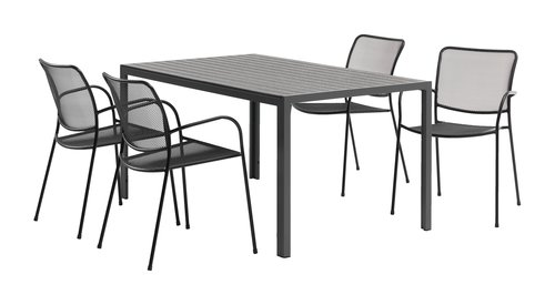 Table CHICAGO 90x150 noir