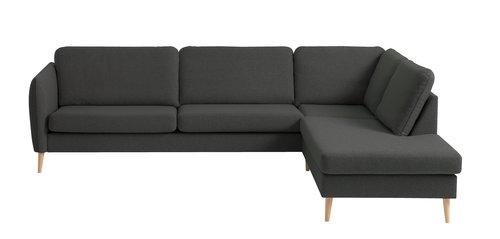Sofa AARHUS åpen ende høyre mørk grå
