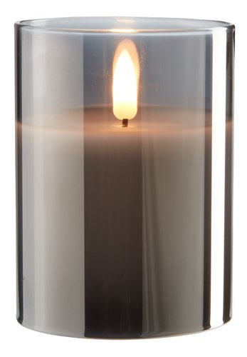 Vela grossa KLAUS Ø8xA10cm cinz c/LED