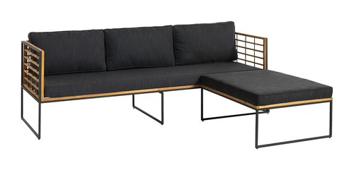 Lounge sofa UGILT w/chaise 3 pers. wood