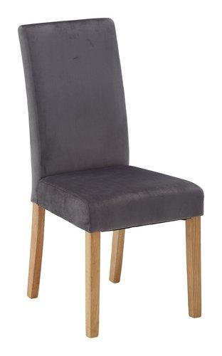 Cadeira jantar TUREBY veludo cinzento