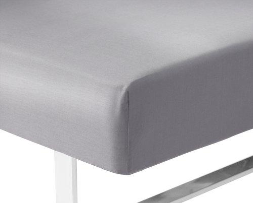 Formsytt lakan Satin 160x200x35cm l.grå