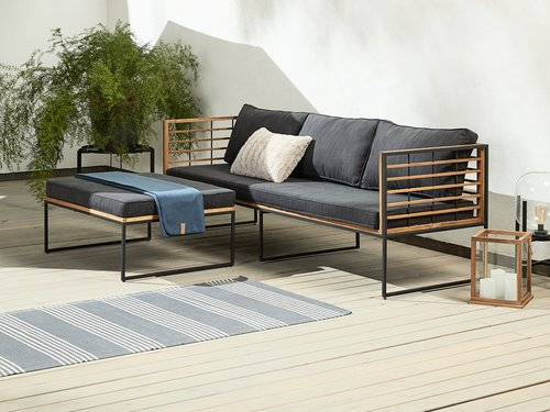 Loungebank UGILT chaise 3-persoons hout