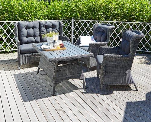 Set muebles jardín FALKENBERG 4pers gris