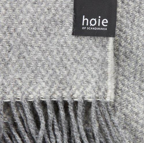 Ullpledd HØIE 130x180 grå/offwhite